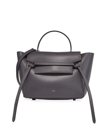 Celine Belted Mini Leather Satchel Bag, Storm