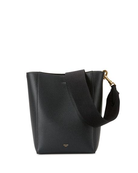 Celine Sangle Small Leather Bucket Bag, Black
