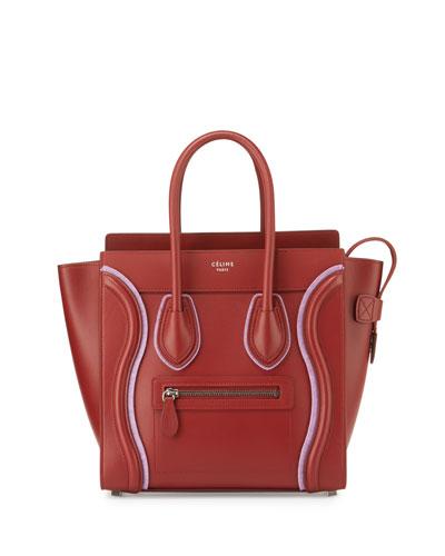 Celine Luggage Micro Leather Tote Bag Merlot Pink