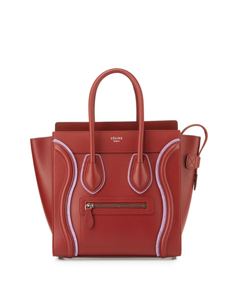 Celine Luggage Micro Leather Tote Bag, Merlot/Pink
