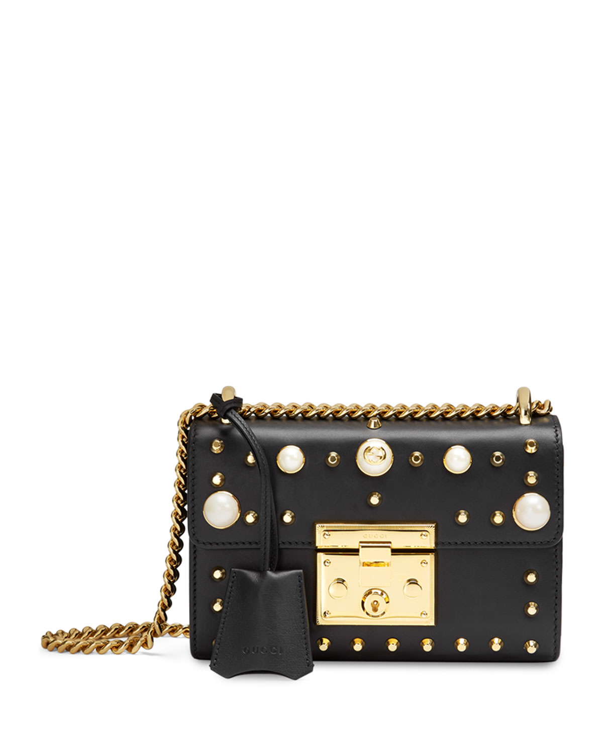 a3bf80e08b593f Gucci Padlock Small Studded Leather Shoulder Bag, Black/Multi ...