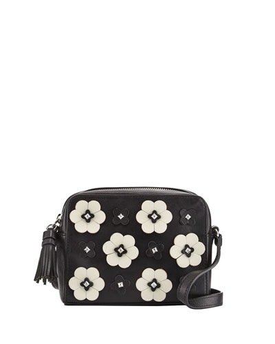 Floral Appliqué Camera Bag, Black/White