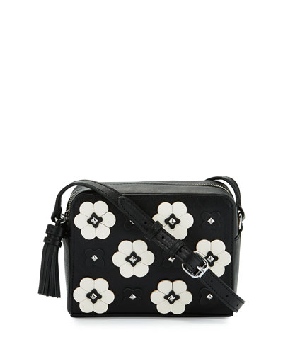 Floral Appliqué Camera Bag, Black/Multi