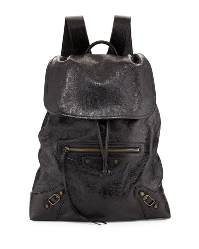 Classic Traveler Small Leather Backpack, Black