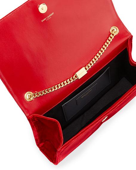 Kate Monogram Medium Velvet Tassel Shoulder Bag, Red