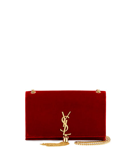 Kate Monogram Medium Velvet Tassel Shoulder Bag, Red