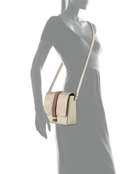 Medium Tricolor Flap Shoulder Bag, Medium Beige