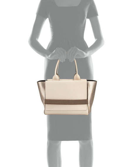 Medium Tricolor Flap Tote Bag, Light Beige