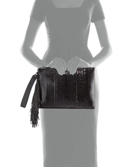 Python Monili-Tassel Wristlet Bag, Black