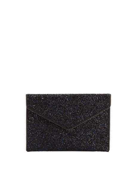 Leo Glittered Envelope Clutch Bag, Blue