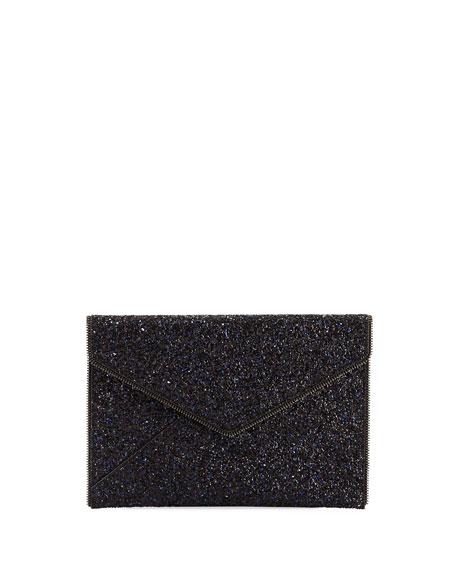 Leo Glittered Envelope Clutch Bag, Blue