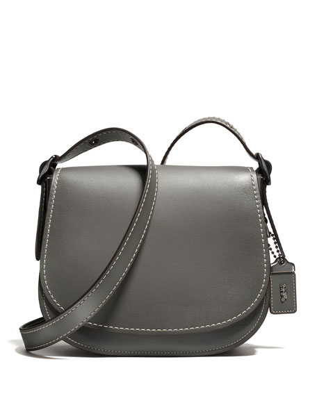 coach gray bag ezak  23 Leather Saddle Bag, Black Copper/Heather Gray