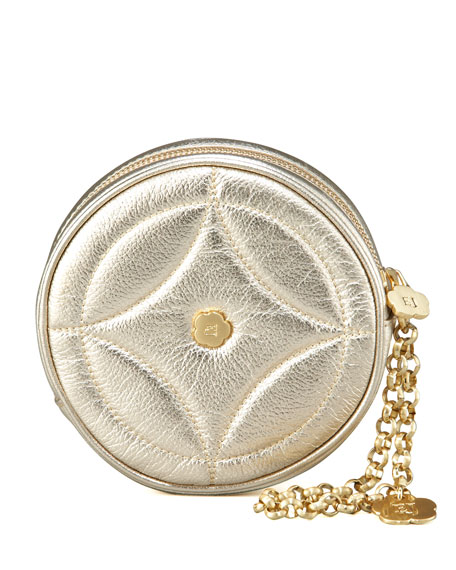 Round Metallic Wristlet