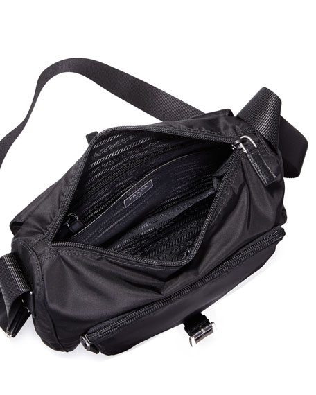 Small Nylon Crossbody Bag, Black (Nero)