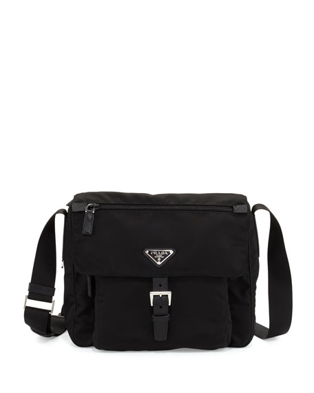 Image 1 Of 3 Small Nylon Crossbody Bag Black Nero