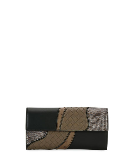 Bottega Veneta Patchwork Flap Continental Wallet, Black Metallic