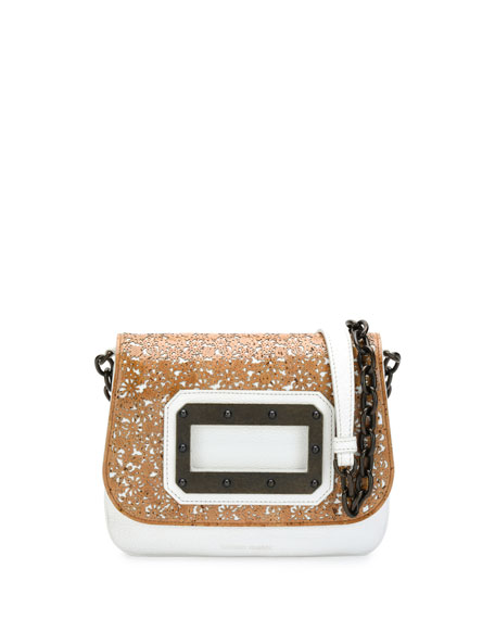 Disco Laser-Cut Cork & Leather Shoulder Bag, Taupe
