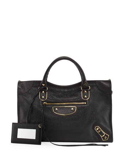 Metallic Golden Edge City Bag, Black