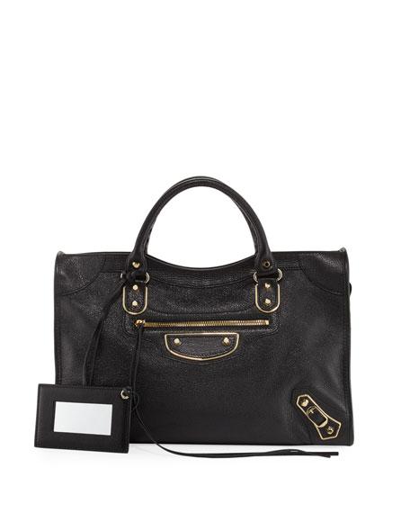 Balenciaga Metallic Golden Edge City Bag, Black