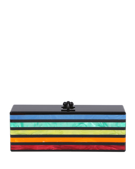 Edie Parker Flavia Striped Acrylic Clutch Bag, Obsidian