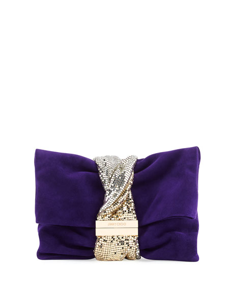 Jimmy Choo Chandra Small Crystal Clutch Bag, Purple