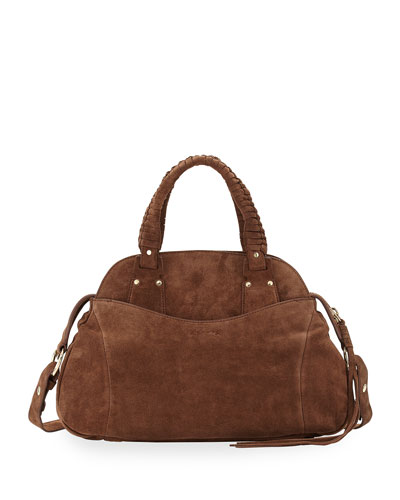 Trapeze Suede Satchel Bag, Brown
