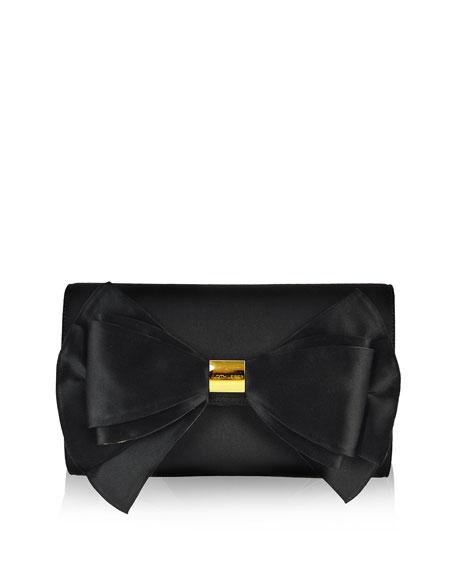 Beekman Satin Bow Evening Clutch Bag, Black/Gold