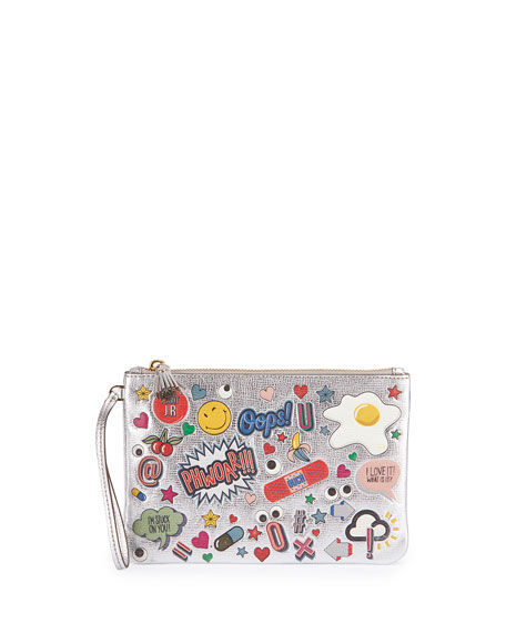 Anya Hindmarch Allover Wink Zip-Top Pouch, Silver