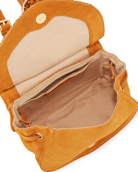 Collins Suede Braided Shoulder Bag, Medium Orange
