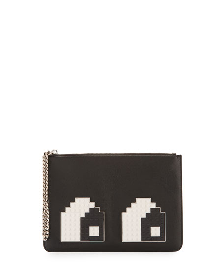 Les Petits Joueurs Eyes Small Envelope Clutch Bag, Black/White