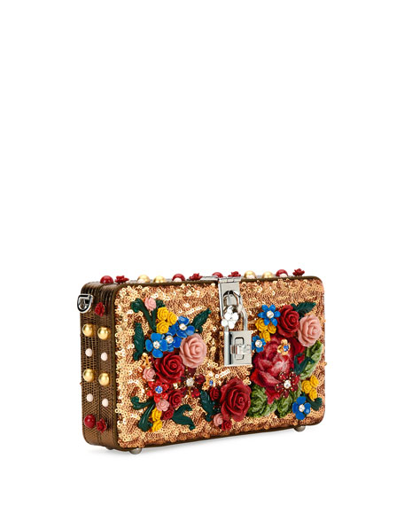 Dolce Floral Sequined Box Clutch Bag, Gold
