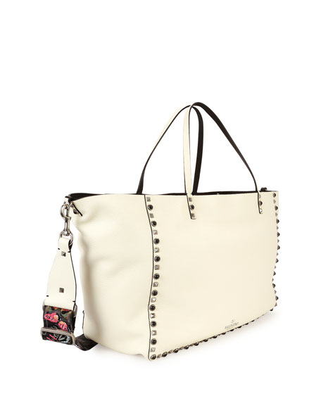 Rockstud Rolling Medium Tote Bag w/ Guitar Strap, Ivory