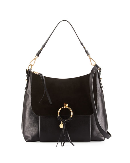 Ring Large Suede & Leather Shoulder Bag, Black