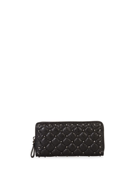 Rockstud Quilted Zip-Around Wallet, Black