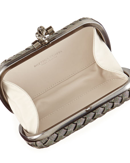 Bottega Veneta Metal Intrecciato Knot Frame Clutch Bag, Silvertone
