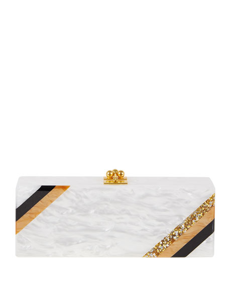 Edie Parker Flavia Diagonal Stripe Clutch Bag, White