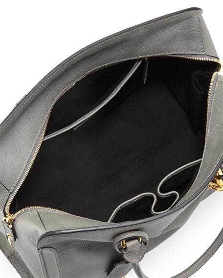 Calfskin Padlock Satchel Bag, Gray