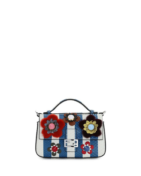 Fendi Double-Compartment Striped Micro Snakeskin Shoulder Bag
