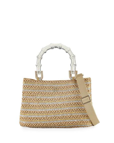 Eric Javits Leila Acrylic-Handle Tote Bag, Peanut/Silver/Gold
