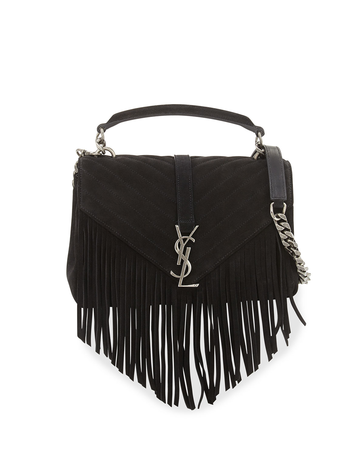 c81a49358ae Saint Laurent Monogram YSL Fringe College Suede Shoulder Bag ...