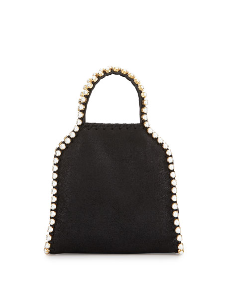 Stella McCartney Falabella Pearly-Trim Tiny Tote Bag, Black