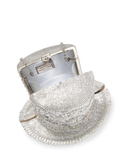 Abracadabra Crystal Top Hat Minaudiere, Silver Shade