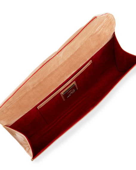 Image 2 of 2: Christian Louboutin So Kate Patent East-West Clutch Bag, Nude