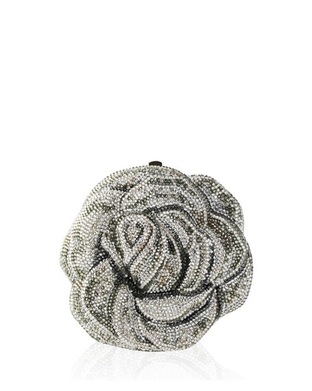 New Rose Crystal Clutch Bag, Silver