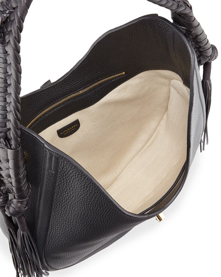 Ghianda Large Leather Hobo Bag, Black