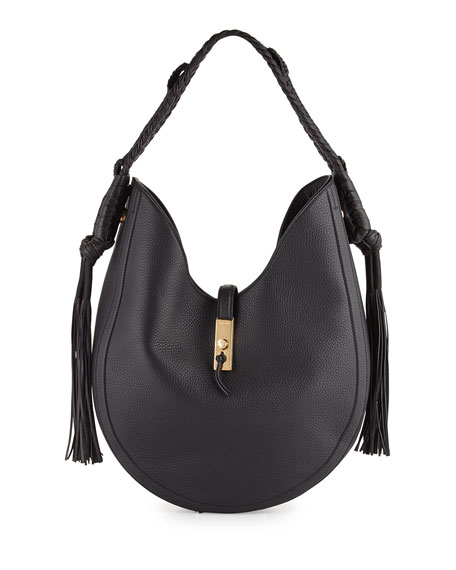 Altuzarra Ghianda Large Leather Hobo Bag, Black