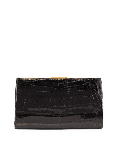 Nancy Gonzalez Frame Crocodile Clutch Bag