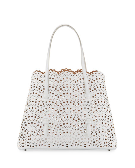 Classic Mini Perforated Leather Tote Bag, White