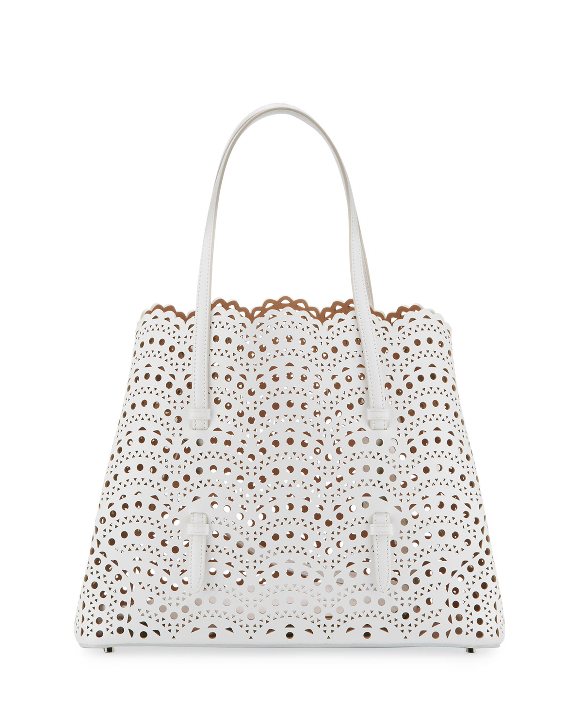 Classic Mini Perforated Leather Tote Bag White