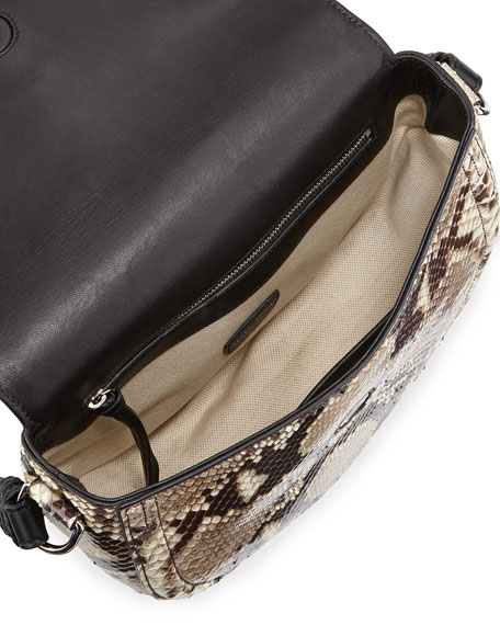 Ghianda Python Saddle Bag, Natural/Black
